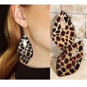New! Metallic Leopard Print Earrings